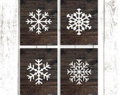 Snowflake Prints, Rustic Wood Snowflake Art, Holiday Decor, Set of Four 8x10 Inch Prints