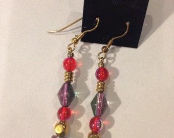 Red, Iridescent Beaded Fish Hook Earrings