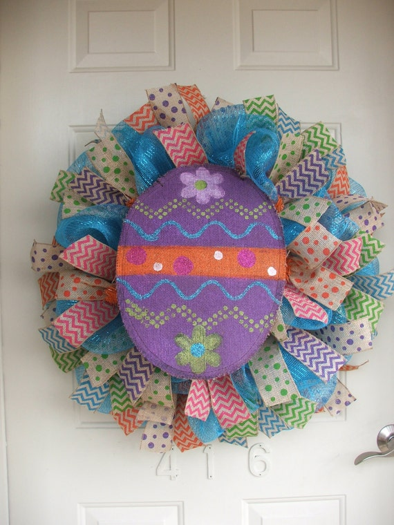 Easter Egg, Easter Burlap Wreath, Easter Mesh Wreath, Easter Wreath with Polka Dots and Chevron Ribbon