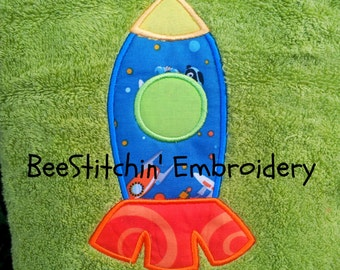 Rocket Applique Embroidery design 3 sizes INSTANT DOWNLOAD