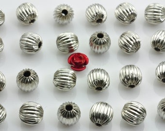 50 pcs of Antique Silver Ribbed round Spacer beads in 8mm