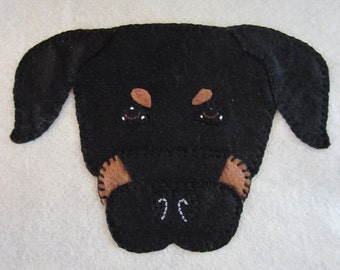 Rottweiler Penny Rug Pet Portrait