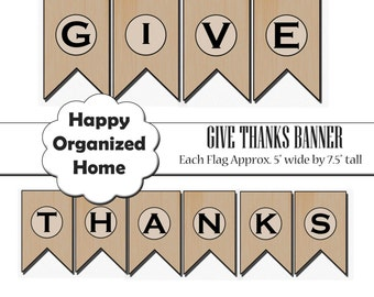 DIY Give Thanks Banner Flag, Printable Thanksgiving Banner, Thanksgiving Decor, Printable Thanksgiving Party, Instant Download