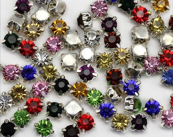6mm SS30 Crystal Sew On Diamante Rhinestones Rose Montees - 25 Pieces