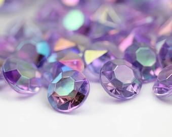 14mm Purple Lilac AB Acrylic Diamond Confetti Wedding Decoration Table Scatter - 50 Pieces