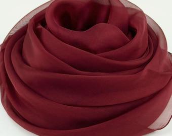 Dark Red Silk Chiffon Scarf - Maroon Silk Chiffon Scarf - Large Red Scarf - AS213