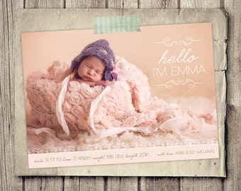 Birth announcement mod hello baby announcement psd for Free online birth announcements templates