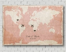 Destination Wedding Guest Book Alternative Wedding Guest Book Map Print Wedding Keepsake Vintage Wedding Gift Wedding Map Long Distant Love