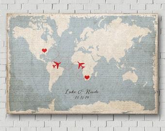 Wedding Map - Wedding Guest Book - Destination Wedding - Vintage World Map - Wedding Poster -Wedding Print - Love Map - Wedding Keepsake