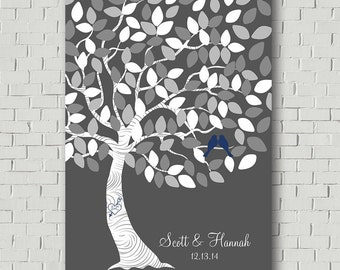 Guest Book Alternative -  Wedding Tree - Gray Wedding - Guest Book Print - Wedding Poster - Wedding Gift - Bridal Showers