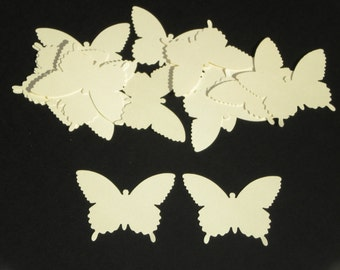 "25 paper butterflies / Cream color / scrapbook embellishments/ size 2.25"" x 1.5"""