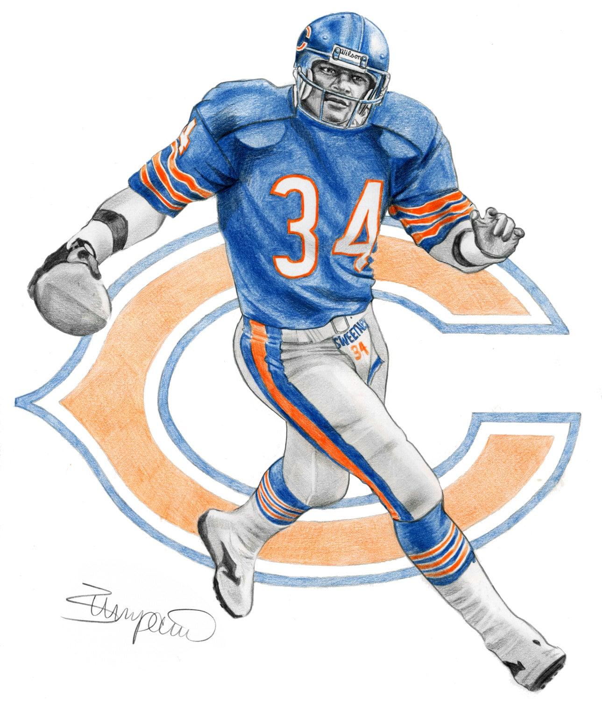 Walter Payton Chicago Bears football Pencil Drawing