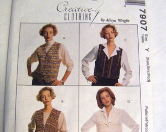 McCalls Pattern 7907  vest sewing pattern 1990s pattern