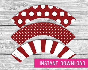 Printable Cupcake Wrapper - Burgundy (instant download, cupcake wrappers, cupcake liner, baby shower, baby boy, first birthday, wedding)