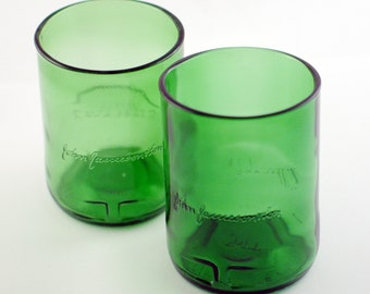 Two Jameson Whiskey Rocks Glasses | Upcycled Recycled Repurposed Glassware Tumblers