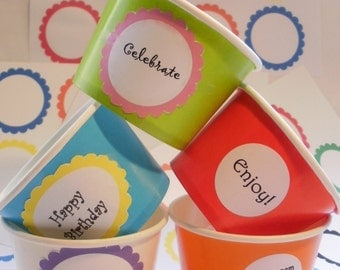 25 Ice Cream Cups - Your Choice of Color - Large 16 oz