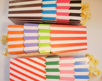 48  Striped popcorn boxes treats favors - Your Choice of Colors