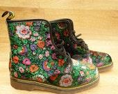 Sale 90s Green Velvet Floral Doc Martens • Ultra Rare • doc marten boots UK 8/ US 10.5 / EU 41 Velvet Boots 90s grunge boots dr marten doc