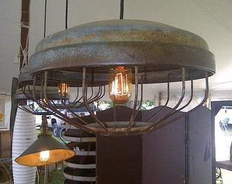 Vintage Industrial Pendant Light made from Relcaimed Chicken Feeder
