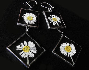 DAISIES flowers earrings in tiffany technique romantic gift for her yellow white sterling silver earwires by GepArtJewellery.FREE SHIPPING!