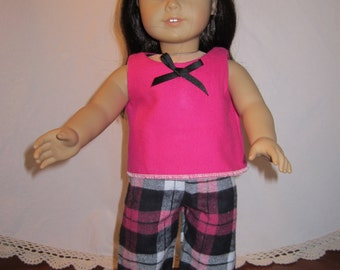 Two piece pink and black sleepwear for American Girl dolls
