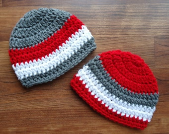 Crocheted Baby Twin Boys Hat Set, Pewter Gray, Bright Red, White Twin Hat Set, Baby Shower Gift, Sizes Newborn to 24 Months - MADE TO ORDER