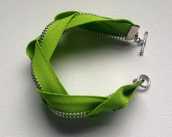 CLEARANCE - Lime Green with Silver Braided Zipper Bracelet - Braided Zipper Cuff