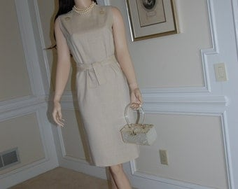 1950s Wheat Colored Linen Dress Size 2-4