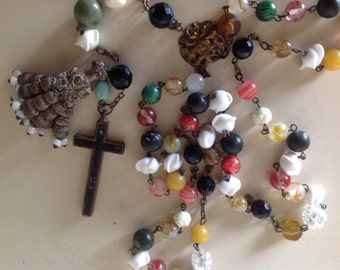 Antique Rosary Matador Tassel Multi Colored Beads Spanish in Origin