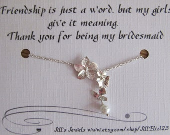 Silver Orchid and Pearl Bridesmaid Charm Necklace - Quote Gift - Bridesmaids Gift - Wedding Jewelry, Bridal, Bridesmaid Necklace