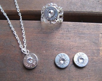 357 Bullet Jewelry Set with Earrings, Necklace and Ring with Swarovski Crystal Accents - Small Thin Cut - Bullet Jewelry