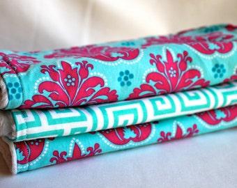 Magenta and Turquoise Burp Pads - Burp Cloths