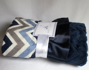 Denim, Navy, Ivory, Light Blue Chevron Print with Solid Navy Embossed Chevron Print and Navy Ruffle Trim Minky Baby Blanket -  Baby