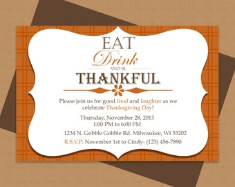 Eat, Drink and be Thankful Thanksgiving Invitation - Editable Template - Microsoft Word Format