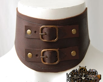 Steampunk Gladys Leather Neck Corset Posture Collar