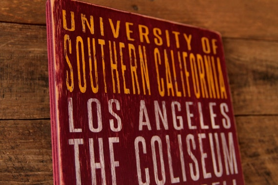 University of Southern California Distressed Wood Sign--Great Father's Day Gift!