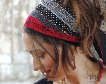 Dancing Spring Red & Black Half Headcovering, Headband ,bandana,tichel,Hair Snood,Head Covering,jewish headcovering