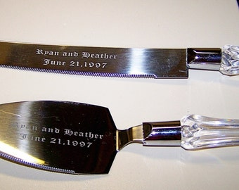 Personalized Etched Wedding Cake Server and Knife Set