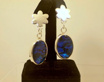 Oval Blue Paua Shell Silver  Earrings Handmade with a Oval Abalone Shell and sterling Silver,   Post Chandelier earrings