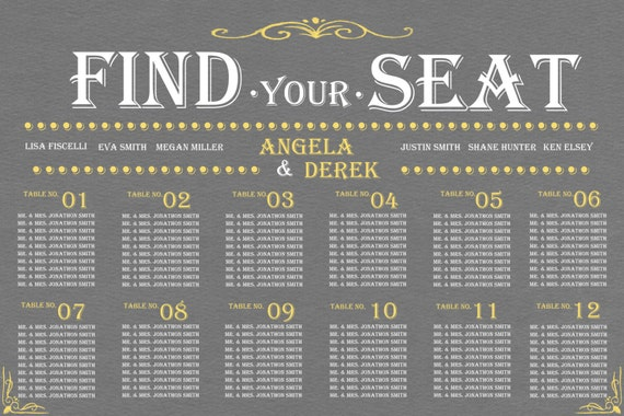 Items Similar To Wedding Seating Chart// Find Your Seat// Gray