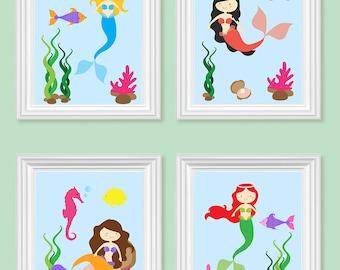 Mermaid Nursery Decor Nautical Girl's Room Decor Under The Sea Nursery Art Prints or Canvas Set of 4 Quad Cute Little Mermaid