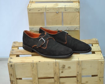 Vintage HARDRIGE PARIS men brown suede shoes size 43 eu/ 10us....(025)