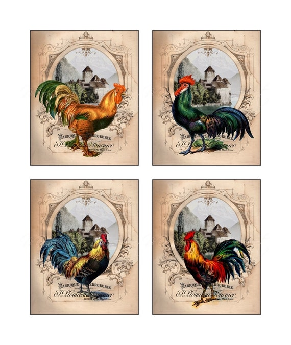 French country roosters gallery collection set of by for French kitchen artwork