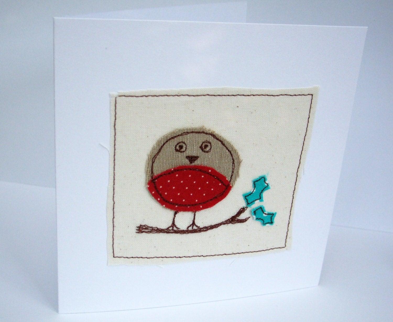 Handmade christmas robin card machine embroidered