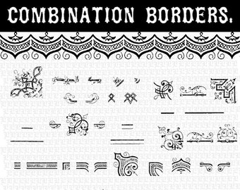 DIY Vector Border Combinations Illustrator Symbols Library Antique Clip Art Instant Download 12C