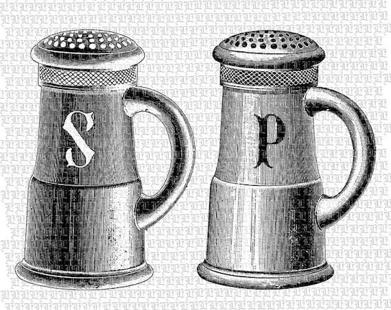 Salt Pepper Shakers Clipart Kitchen Cuisine Vintage Clip Art (570 x 452 Pixel)