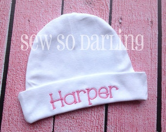 Monogrammed infant hat - baby hat - infant cap - personalized baby hat