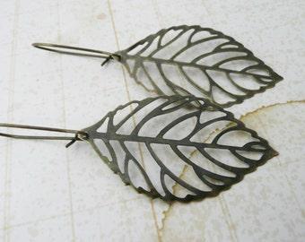 Earrings, brass skeleton leaf earrings No. E284