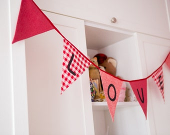 Bunting  Fabric Flags Banner Banner in Red and Pink Colors Girls Birthday, Nursery, Bedroom, Wedding, Baby Shower