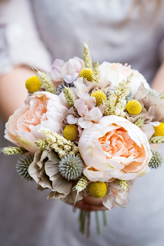 Peach peony country meadow bridal bouquet